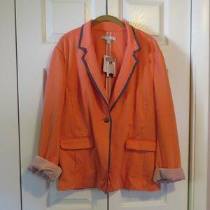 Company Ellen Tracy Peach Knit Blazer Sz XXL NWT
